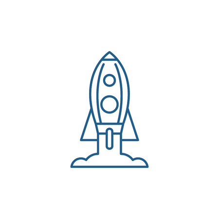 Rocket launch line concept icon. Rocket launch flat  vector website sign, outline symbol, illustration. Illustration