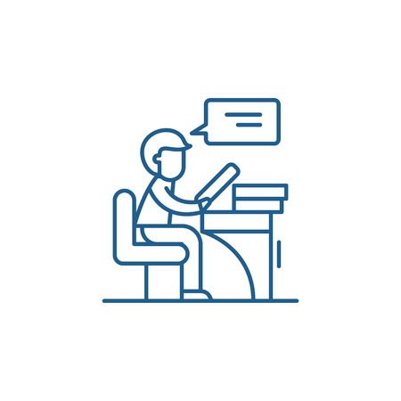 Reader line concept icon. Reader flat  vector website sign, outline symbol, illustration. 向量圖像