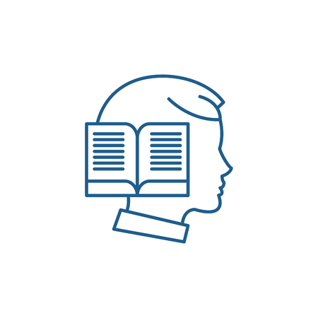 Reading time line concept icon. Reading time flat  vector website sign, outline symbol, illustration.