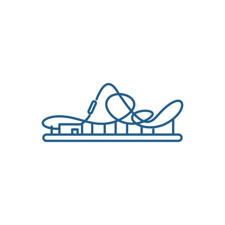Roller coaster line concept icon. Roller coaster flat  vector website sign, outline symbol, illustration. Ilustração