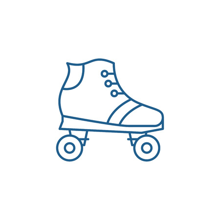 Roller skates line concept icon. Roller skates flat  vector website sign, outline symbol, illustration. Standard-Bild - 119911986