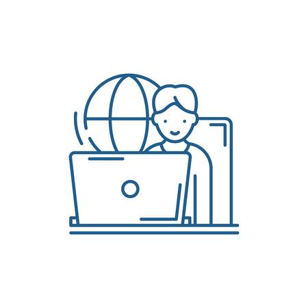 Remote work line concept icon. Remote work flat  vector website sign, outline symbol, illustration.