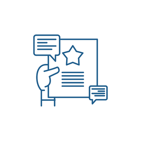 Recommendations line concept icon. Recommendations flat  vector website sign, outline symbol, illustration.