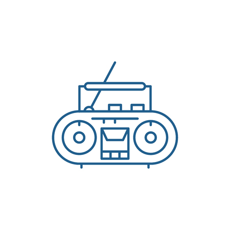 Record player line concept icon. Record player flat  vector website sign, outline symbol, illustration. Stockfoto - 119912001