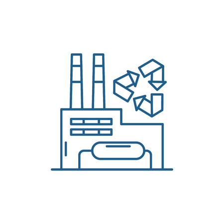 Recycling plant line concept icon. Recycling plant flat  vector website sign, outline symbol, illustration. Illustration