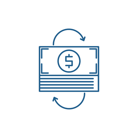Refinancing line concept icon. Refinancing flat  vector website sign, outline symbol, illustration.