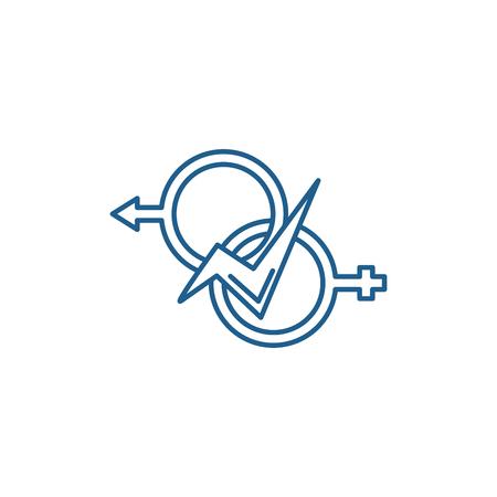 Relationship of men and women line concept icon. Relationship of men and women flat  vector website sign, outline symbol, illustration.