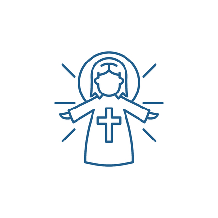 Religious angel line concept icon. Religious angel flat  vector website sign, outline symbol, illustration.