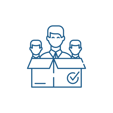 Remote business team line concept icon. Remote business team flat  vector website sign, outline symbol, illustration. Stock Vector - 119912008