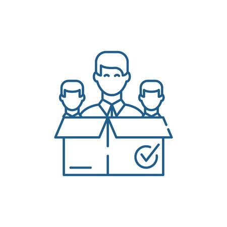 Remote business team line concept icon. Remote business team flat  vector website sign, outline symbol, illustration.