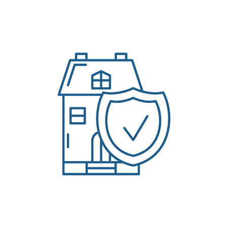 Real estate insurance line concept icon. Real estate insurance flat  vector website sign, outline symbol, illustration.