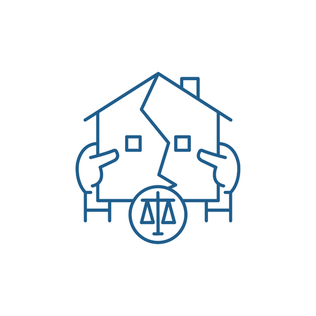 Real estate law line concept icon. Real estate law flat  vector website sign, outline symbol, illustration.