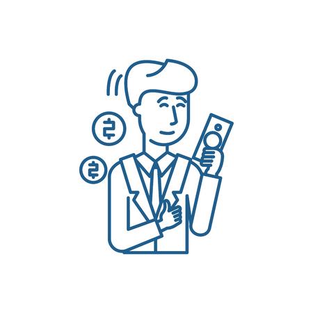 Rich man line concept icon. Rich man flat  vector website sign, outline symbol, illustration.