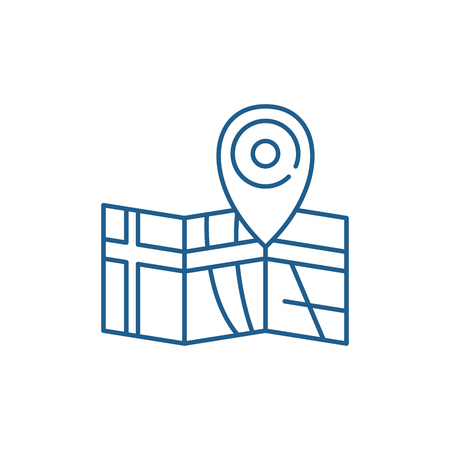 Route on the map line concept icon. Route on the map flat  vector website sign, outline symbol, illustration.