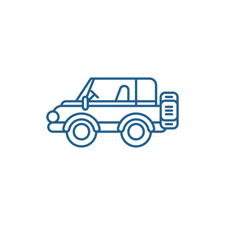 Safari car line concept icon. Safari car flat  vector website sign, outline symbol, illustration.