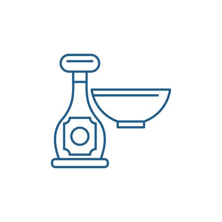 Sauce in a bottle line concept icon. Sauce in a bottle flat  vector website sign, outline symbol, illustration.