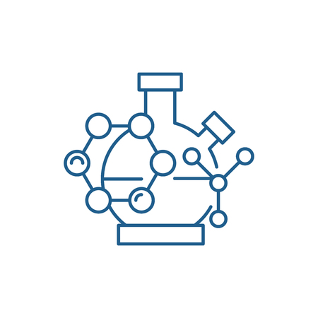 Scientific research line concept icon. Scientific research flat  vector website sign, outline symbol, illustration. Stok Fotoğraf - 120116867