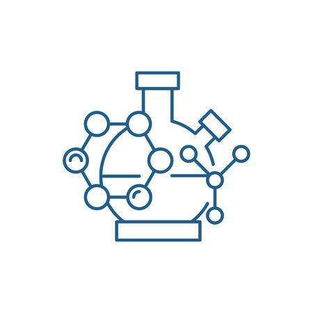 Scientific research line concept icon. Scientific research flat  vector website sign, outline symbol, illustration. Illustration