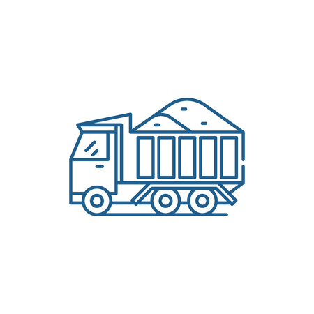 Sand machine line concept icon. Sand machine flat  vector website sign, outline symbol, illustration.