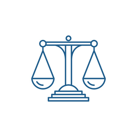 Scales of justice line concept icon. Scales of justice flat  vector website sign, outline symbol, illustration. Imagens - 120116872