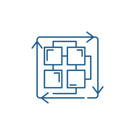 Séquence d'icône de concept de ligne de processus. Séquence de processus vecteur plat signe de site Web, symbole du contour, illustration. Vecteurs