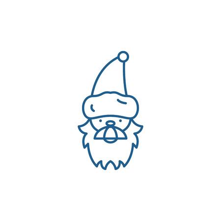 Santa claus line concept icon. Santa claus flat  vector website sign, outline symbol, illustration.