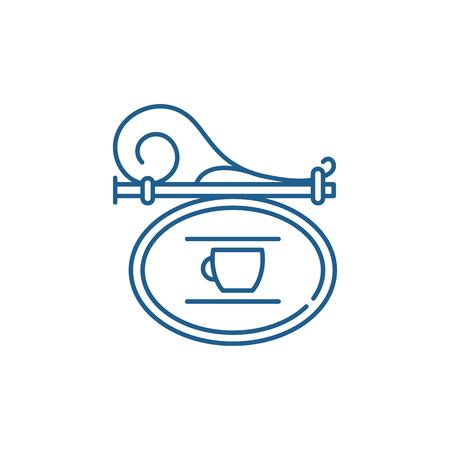 Signboard cafe line concept icon. Signboard cafe flat  vector website sign, outline symbol, illustration.