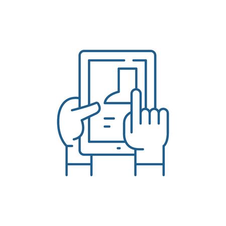 Selection of goods in the online store line concept icon. Selection of goods in the online store flat  vector website sign, outline symbol, illustration.