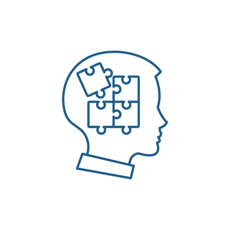 Icono de concepto de línea de autodisciplina. Autodisciplina vector plano sitio web de señal, símbolo de contorno, Ilustración.