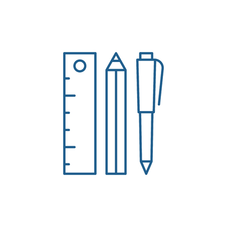 Ruler, pencil and pen line concept icon. Ruler, pencil and pen flat  vector website sign, outline symbol, illustration. Çizim