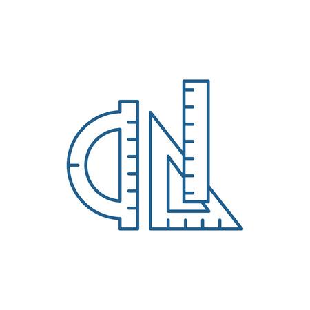 Rulers line concept icon. Rulers flat  vector website sign, outline symbol, illustration.
