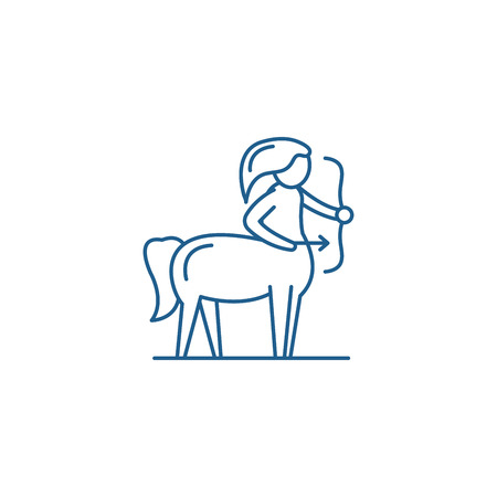 Sagittarius zodiac sign line concept icon. Sagittarius zodiac sign flat  vector website sign, outline symbol, illustration. 向量圖像