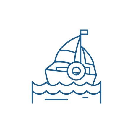 Sailing line concept icon. Sailing flat  vector website sign, outline symbol, illustration.