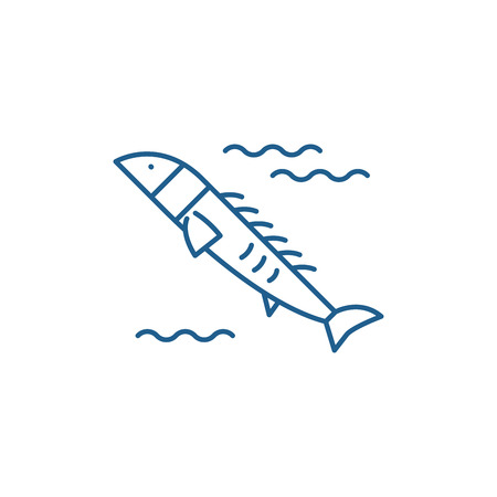 Salmon line concept icon. Salmon flat  vector website sign, outline symbol, illustration.