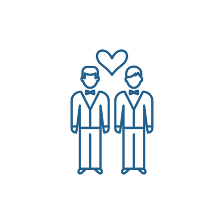 Same sex marriage line concept icon. Same sex marriage flat  vector website sign, outline symbol, illustration. Иллюстрация