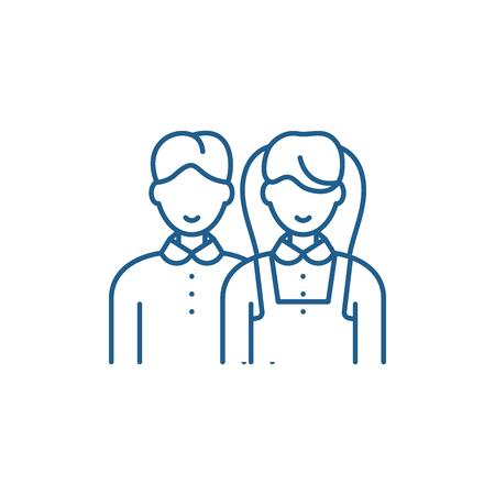 Scholar line concept icon. Scholar flat  vector website sign, outline symbol, illustration. Illustration