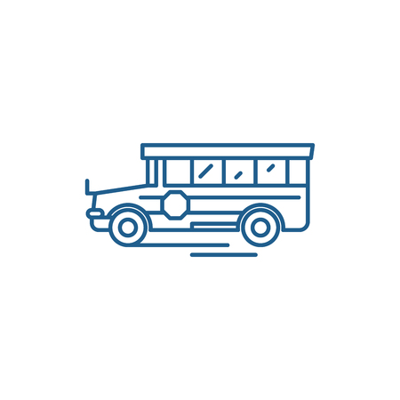 School bus line concept icon. School bus flat  vector website sign, outline symbol, illustration.