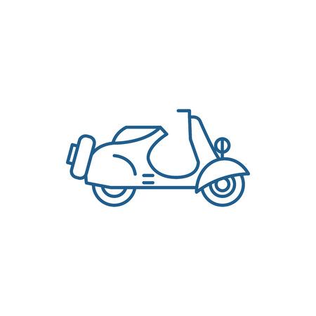 Scooter line concept icon. Scooter flat  vector website sign, outline symbol, illustration. Çizim