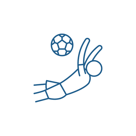 Score a goal in football line concept icon. Score a goal in football flat  vector website sign, outline symbol, illustration.