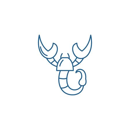 Icono de concepto de línea de signo del zodíaco Escorpio. Signo del zodíaco Escorpio signo de sitio web de vector plano, símbolo de contorno, Ilustración.