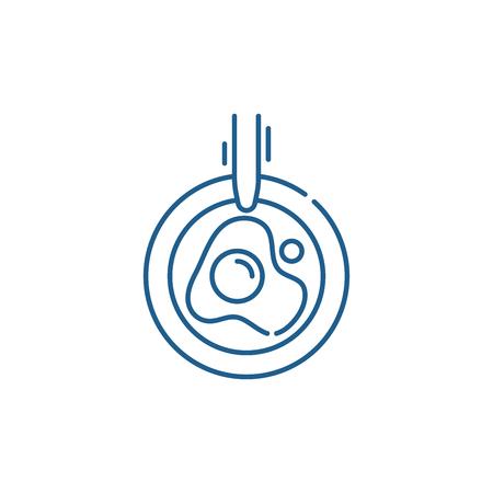 Scrambled eggs line concept icon. Scrambled eggs flat  vector website sign, outline symbol, illustration.