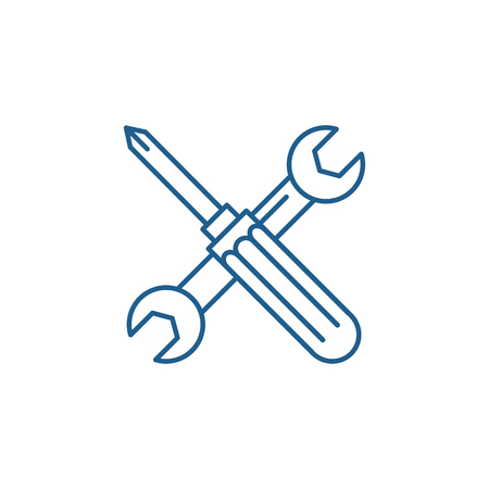Screwdriver and wrench line concept icon. Screwdriver and wrench flat  vector website sign, outline symbol, illustration.