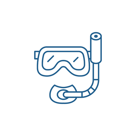Scuba diving mask line concept icon. Scuba diving mask flat  vector website sign, outline symbol, illustration. Zdjęcie Seryjne - 120116931