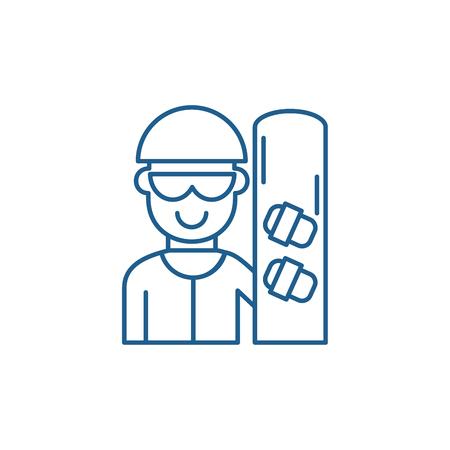Skateboarder line concept icon. Skateboarder flat  vector website sign, outline symbol, illustration. Illustration