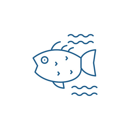 Sea fish line concept icon. Sea fish flat  vector website sign, outline symbol, illustration. Ilustracja