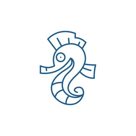 Sea horse line concept icon. Sea horse flat  vector website sign, outline symbol, illustration. Stock Illustratie