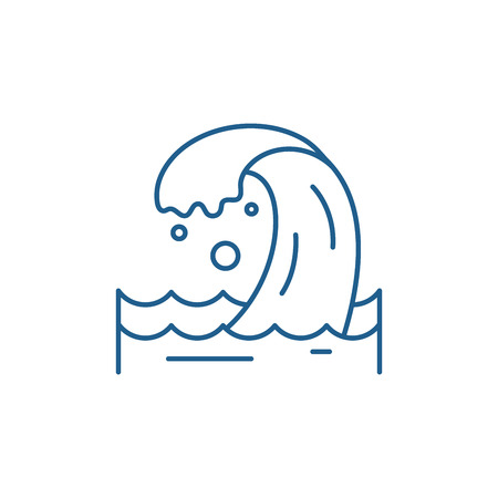 Sea wave line concept icon. Sea wave flat  vector website sign, outline symbol, illustration.