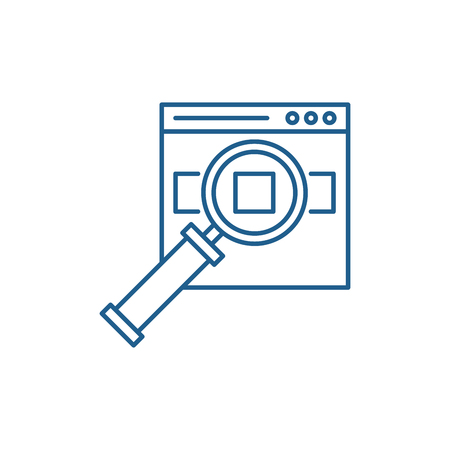 Search for products on the site line concept icon. Search for products on the site flat  vector website sign, outline symbol, illustration. Illustration