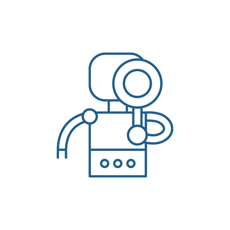 Search robot line concept icon. Search robot flat  vector website sign, outline symbol, illustration.