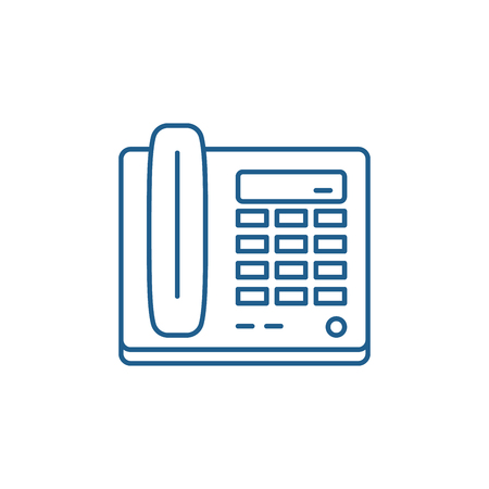 Secretarys phone line concept icon. Secretarys phone flat  vector website sign, outline symbol, illustration.